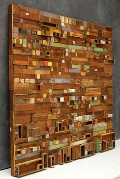 Laurie Frick Initial_sleep_study (working from EEG readings from her sleep) Wooden Art, Wood Wall Art, Pallet Wall Art, Wood Mosaic, Wood Scraps, Found Object Art, Assemblage Art, Wood Sculpture, Installation Art