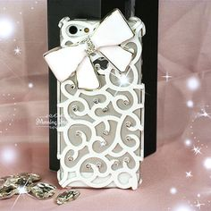 iPhone 5 Case, iPhone 4/4s Case - Bling iPhone Case, Crystal iPhone Case, iPhone Cover - White Swirl Diamond Bow iPhone Hard Case - 111 on Etsy, $16.99