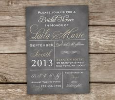Vintage Style Typography Bridal Shower Invitations - Grey, Cream, Chalkboard, Baby Shower, DIY via Etsy