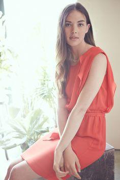Tomato silk dress
