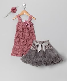 Crystal Clear Dusty Rose Pettiskirt Set - Infant, Toddler & Girls