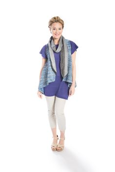 Layered look: blue cotton tweed vest, purple short sleeved linen jersey knit tunic and long skinny grey textured eyelet and plisse scarf by Jennifer Fukushima.