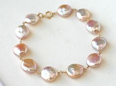 Bracelet Blush Pink Freshwater Pearl Coin and Gold Filled - Elegant, Under 50 dollars, Sophisticated, Everyday wear Freshwater Pearl Bracelet, Pearl Jewelry, Bridal Jewelry, Beaded Jewelry, Jewellery, Ankle Bracelets, Jewelry Bracelets, Handmade Bracelets, Handmade Jewelry