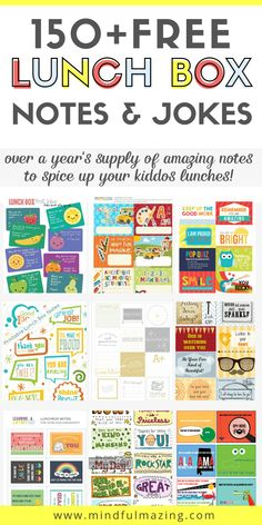 12 Sets of The Coolest FREE Lunch Box Notes Your Kids Will Go Banana's Over - Lunch box notes for kids are a super cool way to remind your kiddo they are loved and that you are - Lunchbox Notes For Kids, Lunch Notes, Silly Jokes, Jokes For Kids, School Lunch Box, School Lunches, School Notes, School Stuff, Kindergarten Lunch