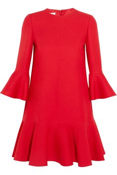 Valentino - Ruffle-trimmed Wool And Silk-blend Mini Dress - Red - IT Source by netaporter dresses red Party Dresses For Women, Trendy Dresses, Nice Dresses, Casual Dresses, Short Dresses, Red Holiday Dress, Holiday Dresses, Short Cocktail Dress, Cocktail Dresses