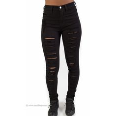 High Waist Black Perfect Fit Distressed Jeans ($28) ❤ liked on Polyvore featuring jeans, pants, bottoms, stretchy jeans, form fitting jeans, high waisted destroyed jeans, distressed jeans and high waisted stretch jeans
