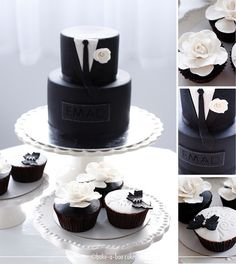 Gucci black tux cake & Black and white cupcakes. by Bake-a-boo Cakes NZ, via Flickr