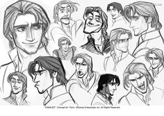 Flynn Rider Concept Art by Glen Keane & Jin Kim Flynn Rider, Character Design Cartoon, Character Design Animation, Character Art, Character Sketches, Disney Sketches, Disney Drawings, Cartoon Drawings, Art Sketches
