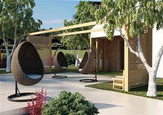 cocoon sada vajicok z umeleho ratanu hneda 2 Outdoor Furniture, Outdoor Decor, Hanging Chair, Hammock, Kids Room, Praha, Brown, Home Decor, Room Kids