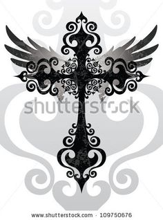 Cross and Wings (Stylized cross and angel wings)