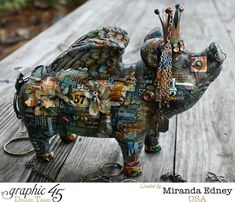 Miranda Edney for Graphic 45 with a Mixed Media Pig; Graphic 45, Mixed Media Collage, Mixed Media Canvas, Altered Boxes, Altered Art, Pig Art, Flying Pig, Assemblage Art, Alters