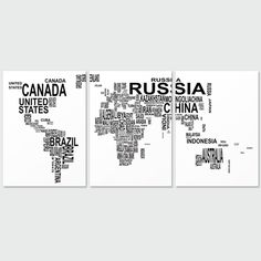 The letter map of the world English decorative painting office study paintings abstract painting Tryptich living room wall cloth