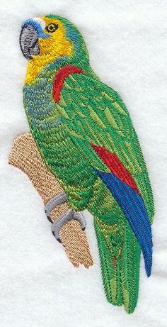 Amazon Parrot  Embroidered Decorative Linen by EmbroideredbySue, $16.99
