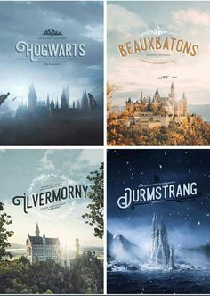 Harry Potter Wizarding Schools: Hogwarts of Scotland, Beauxbatons of France, Durmstrang of Scandinavia, and Ilvermorny of America. Estilo Harry Potter, Arte Do Harry Potter, Yer A Wizard Harry, Harry Potter Love, Harry Potter Universal, Harry Potter Poster, Harry Potter Aesthetic, Harry Potter Wizard, Harry Potter World