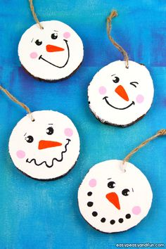 Wood Slice Snowman Ornament Idea Source by easypeasyandfun Handmade Christmas Crafts, Christmas Crafts For Kids, Christmas Activities, Christmas Projects, Holiday Crafts, Diy Snowman, Snowman Ornaments, Diy Christmas Ornaments, Christmas Decorations