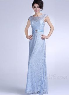 Dresses, Elegant Pretty Scoop Zipper-Up Lace Floor Length Evening Dress, Evening,159.99