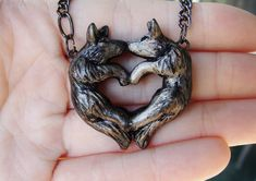 Wolf Love Necklace Heart Kissing Couple Grey Black Pendant Charm Cute Polymer Clay on Etsy, $39.50