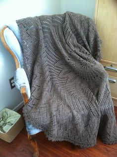 Hand knit lap blanket.  Pattern:  Girasole, by Brooklyn Tweed.