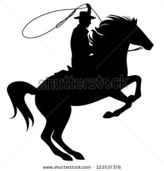 cowboy throwing lasso riding rearing up horse - black silhouette over white