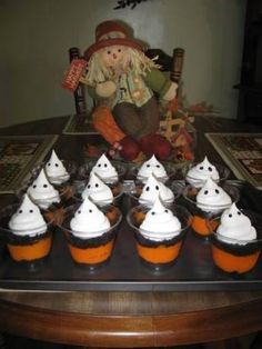 Spooktacular Halloween Pudding Cups  4 cups Oreo cookies, crushed 1 (16 ounce) container Cool Whip 4 (3 1/2 ounce) vanilla pudding mix 8 cups milk (2 cups per package of pudding) orange food coloring 16 clear plastic cups Directions: Make pudding according to the directions on package. Add food coloring. Refrigerate if using the cooked kind or instant to allow to cool and or set up. Crush entire package of oreos. Divide amount in half. Distribute the first half evenly among the cups. Add 1/2…