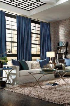 Синие шторы в интерьере - 39 фото для вдохновения