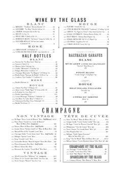 Balthazar's wine list. Frenchie.
