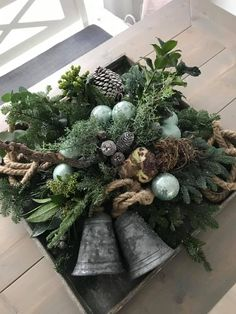 Hanging Christmas Tree, Christmas Swags, Xmas Wreaths, Country Christmas, Rustic Christmas, Winter Christmas, Christmas Time, Christmas Crafts, Decoration Table