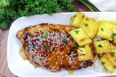 Grilled Teriyaki Ginger Chicken With Pineapples #Ginger #sesame #teriyaki #Pineapples #justapinchrecipes