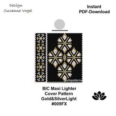 DETAILS: Gold&SilverLight #009FX - maxi Peyote maxi lighter cover pattern - it perfectly fits the BIC Maxi (Standard) Lighter Stitch: Even peyote Beads: Miyuki Delica 11/0 >>>>>>>>>>>>> Coupons-codes: <<<<<<<<<<< PREVIOUS KNOWLEDGE: Peyote stitch The pattern does not include