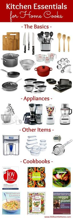 Kitchen Essentials List for Home Cooks! From basics to fun gadgets, this kitchen essentials list has everything you need to start creating delicious meals! Perfect for new graduates, college students, or anyone setting up their first apartment or creating a wedding registry, this checklist has the must have kitchen tools you need to get started cooking! | Hello Little Home