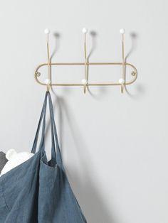 Metal wall hooks with white balls - gilt/white, Home