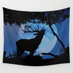 King Stag Wall Tapestry SALES: 1 This elk bull is howling to the moon. Photo as it came out of the box, I just added the moon deer, elk bull, animal, fullmoon, nature, tree, silhouette, blue, black, red deer, stag, wildlife