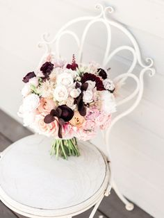 Gorgeous pink and marsala bridal bouquet