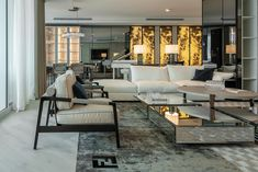 Fendi apartment on Behance Suites, Industrial Office, Contemporary Interior, Living Room Interior, Pent House, Fendi, Hair Shop, Outdoor Furniture Sets, Beauty Bar