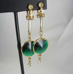 Rivoli Emerald Green Dangle Earrings Vintage by NeatstuffAntiques, $35.00