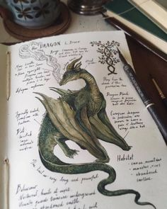 """""""The Dragon"""" L. Draco(nem) Illustrated Journal Page. Waking up to a long awaited rainfall this morning gave me a newfound source o… in 2019 Magical Creatures, Fantasy Creatures, Arte 8 Bits, Arte Sketchbook, Witch Aesthetic, Nature Journal, Dragon Art, Journal Pages, Journals"""