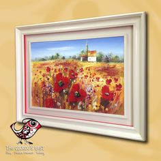 Here is the first of the large painted frames we were working on last week. A scooped classic moulding, with a small inner frame to hold the canvas has been painted with Farrow & Ball Off-White (03). The addition of a bright red sidewall to match the poppies adds an extra punch and sets off a very colourful painting beautifully.