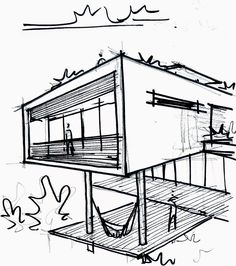 Discover recipes, home ideas, style inspiration and other ideas to try. House Sketch, House Drawing, Architecture Sketchbook, Architecture Design, Simple Line Drawings, Building Sketch, Perspective Drawing, Sketch Inspiration, Sketch Design