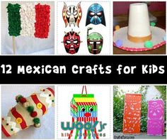 12 Mexican/Hispanic crafts for kids, perfect for Cinco de Mayo or Mexican Independence Day fun.