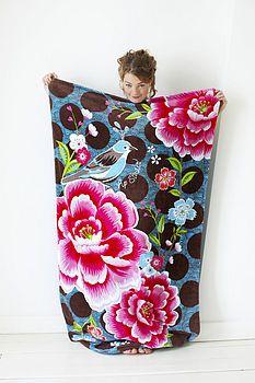 Birds and Flower Beach Towel LOVE