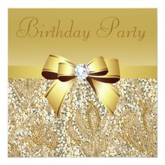 Gold Sequins, Bow & Diamond Birthday Party Invitation
