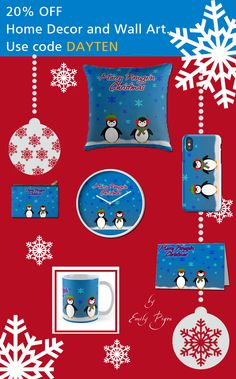 20% off Home Decor and Wall Art. Use code DAYTEN. Merry Penguin Christmas gifts by Emily Pigou. #discount #sales #save #gifts  #family #online #shopping #baby #kids #home #homegifts #homedecor #art #design  #39 #redbubble #xmasgifts #clock #kidsroom #pouch #iphonecase #christmasmug #mug #christmascard #xmascard #postcard #penguins #christmasgifts #giftsforhim #giftsforher #fashion #style #cute #funny  • Also buy this artwork on home decor, apparel, stickers, and more.