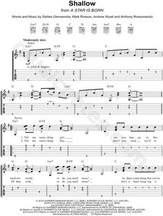 Print and download Lady Gaga & Bradley Cooper Shallow Easy Guitar TAB. Includes Easy Guitar TAB for Guitar or Voice in G Major.