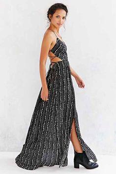 Ecote Strappy Back Safari Maxi Dress- Black & White