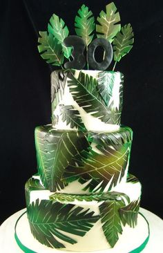 Jungle Themed Birthday Cake. Fondant finish with handpainted decor.