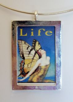 Vintage Life Magazine Blue Butterfly Reversible Poster by bymisty, $18.00
