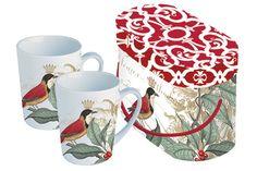 www.gifthaus.co.za Holly Bird Mug Set Mugs Set, Tea Time, Porcelain, Bird, Tableware, Porcelain Ceramics, Dinnerware, Birds, Tablewares