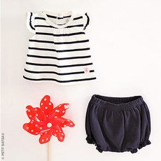Petit Bateau - Baby girl striped top and plain bloomers set - 114235