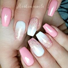 White And Pink Nail Designs Gallery pink and white gel nail design with glitter pink gel nails White And Pink Nail Designs. Here is White And Pink Nail Designs Gallery for you. White And Pink Nail Designs sweet soft pink nails with white glitter. Pink Gel Nails, Summer Acrylic Nails, Acrylic Nail Art, Gel Nail Art, Summer Nails, Nail Polish, Pink Nail Art, Nail Nail, Acrylic Colors