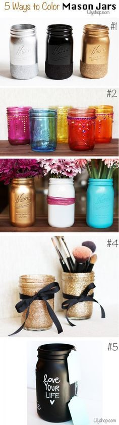 Five ways to decorate mason jars...for vases, makeup brush holders, anything you can think of! Great for holiday make-a-batch giving!: